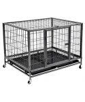 jaula para perros reforzada acero pintada color negro con ruedas